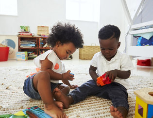toddlers playing toys